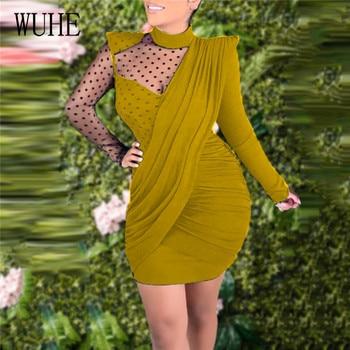 WUHE elegante fruncido lápiz vestido de malla ver a través del dibujo de lunares de manga larga cuello redondo vendaje vestido ajustado plisado Club vestidos de fiesta