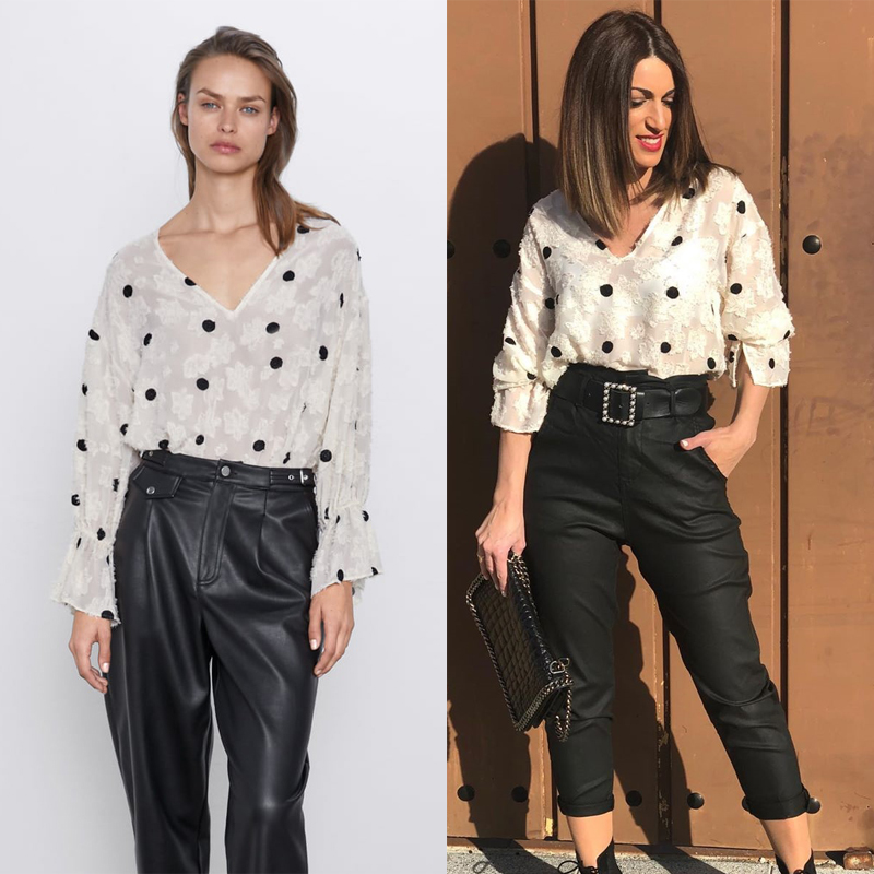 2020 Newly  Spring Fashion Vintage Dot Shirt Women Casual Clothes Trendy Sexy Loose Tops Female Party Club Tops Wholesale