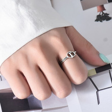 New boutique S925 sterling silver open ring ladies European and American new asymmetric ring distressed retro CD letter jewelry