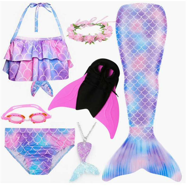 Kids Girls Mermaid Tail Bikini Sets Monofin Swimmable Swimwear Cosplay Costumes