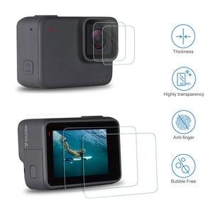 Image 4 - Verre trempé lentille LCD écran de protection pour Go Pro Gopro Hero 5 6 7 Hero5 Hero6 Hero7 caméra lentille capuchon couverture protecteur Film ensemble