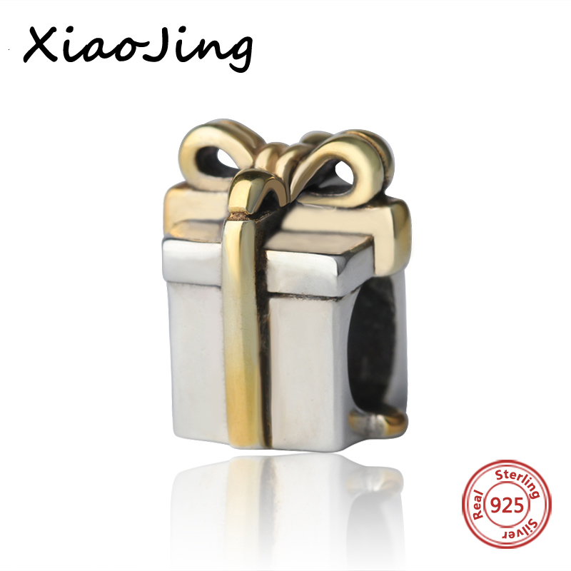 Recommend 925 Sterling Silver charms golden bow-tie gift box Beads Fit authentic pandora Bracelets diy Jewelry making for Gifts