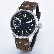 Estéril 44mm estéril mostrador preto luminoso 6497 mão enrolamento st3600 movimento relógios de pulso mecânicos cristal safira 316l ss