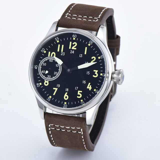 Sterile 44mm Sterile Black Dial  Luminous 6497 Hand Winding ST3600 Movement mechanical wristwatches sapphire crystal 316L SS