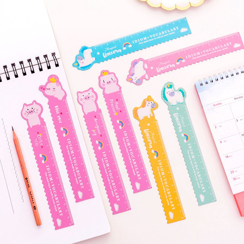Cute Pig Unicorn Soft Ruler Student Flexible Cartoon 15cm Ruler Measure Straight Ruler Office Drafting Supplies