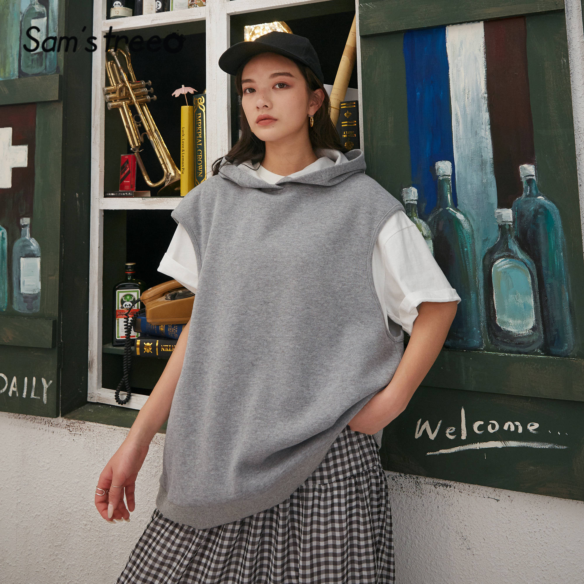 SAM'S TREE Gray Solid Minimalist Pullover Casual Hoodies Sweatshirts Women 2020 Spring Pure Sleeveless Ladies Korean Daily Top