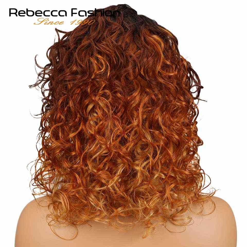 Rebecca solta lado direito encaracolado parte parte dianteira do laço perucas de cabelo humano para preto feminino peruano remy solto encaracolado perucas do laço 18 Polegada