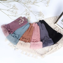 Autumn Winter Women Fashion Pretty Bowknot Gloves High Quality Suede Plus Velvet Full Finger Thermal Ski Snowboard