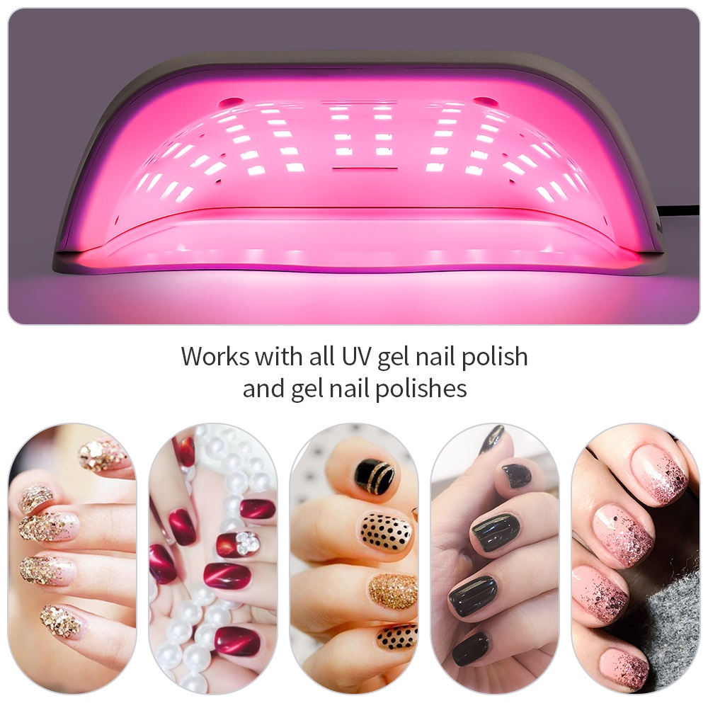96W 48LED Lights Nail Dryer Red Light Fast Drying LED Nail Lamp Tow Hand Big Lamp Gel Polish Dryer Timer Smart Nail Art Tools