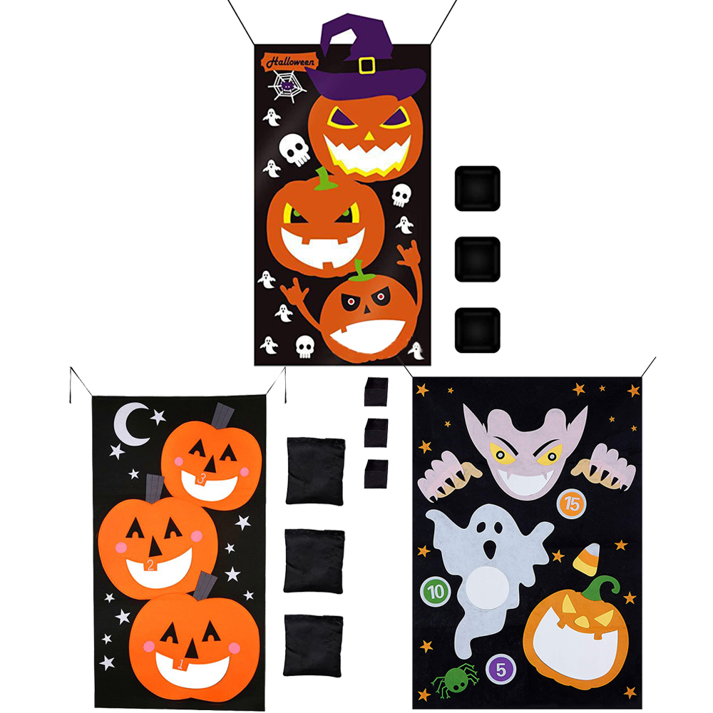 Pumpkin Hanging Toss Game with 3 Bean Bags for Adults Kids Halloween Party Decor Funny Props