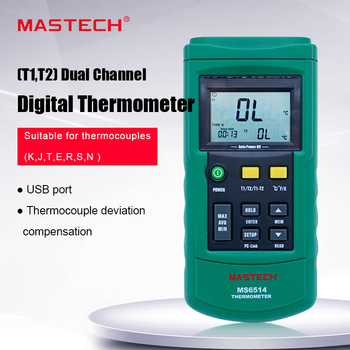 MASTECH MS6514 Dual Channel Digital Thermometer Temperature Logger Tester USB Interface 1000 Set Data K/J/T/E/R/S/N Thermocouple - discount item  22% OFF Measurement & Analysis Instruments