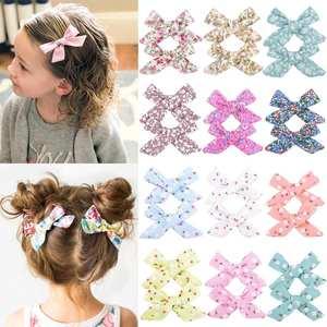 Ribbon-Printed Bows Clips Hair-Accessories Handmade Grosgrain 3inch-Boutique Girls Children
