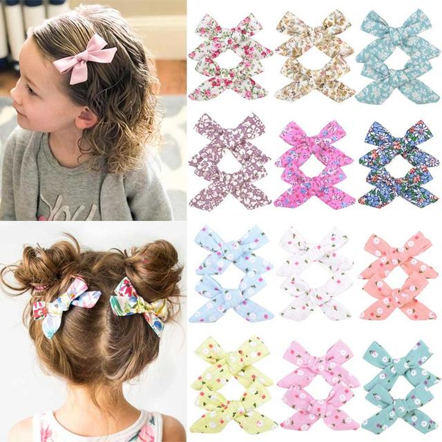 Colorful Bow Hair Clips for Girls 2 pcs Set 1