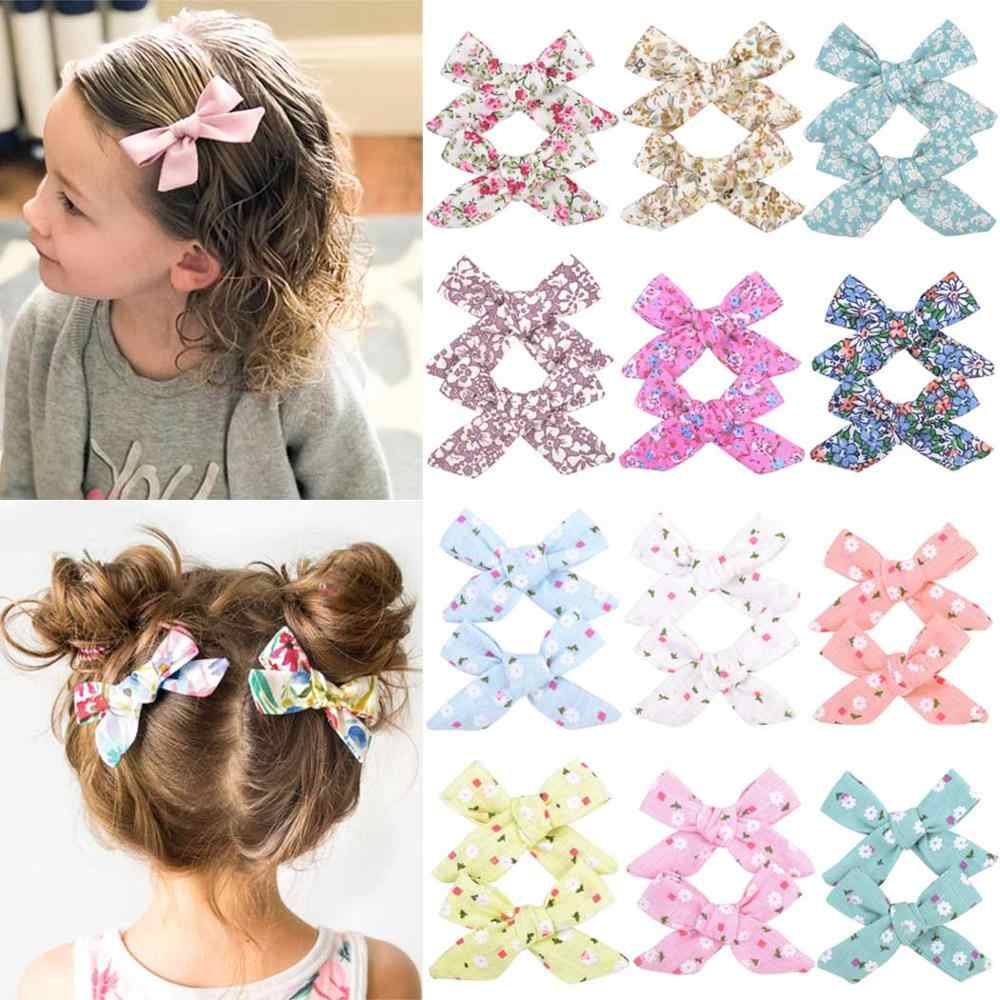 2Pcs/set 3inch Boutique Grosgrain Ribbon Printed Bows With Clips For Kids Girls Handmade Hair Bows Children Hair Accessories 055