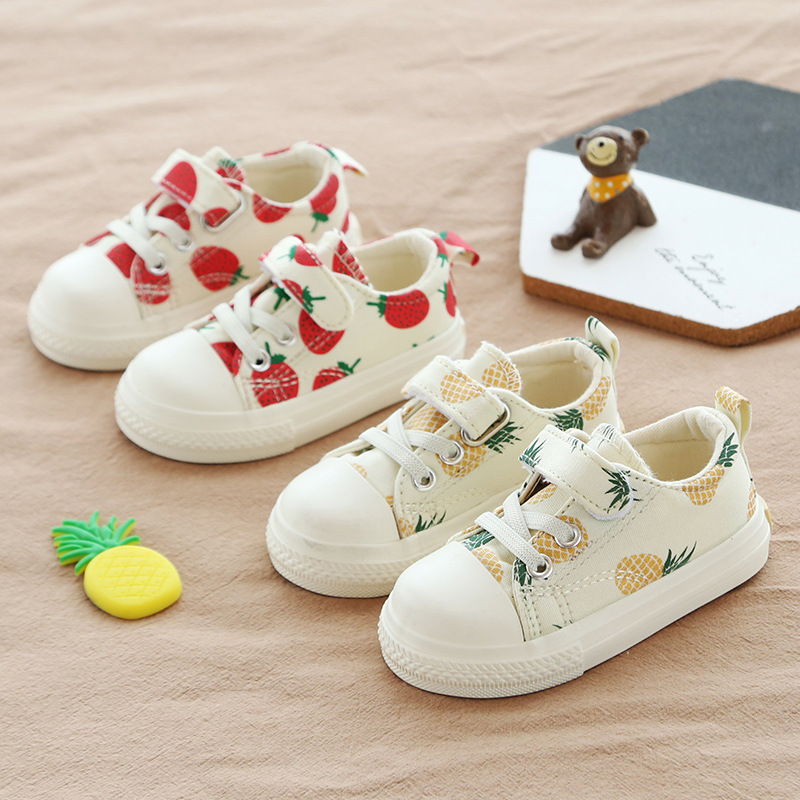 Children Canvas Shoes 2019 Fashion Strawberry Baby Pineapple Net Red Shoes Kids Boys Girls Casual Shoes Low To Help Single Shoes