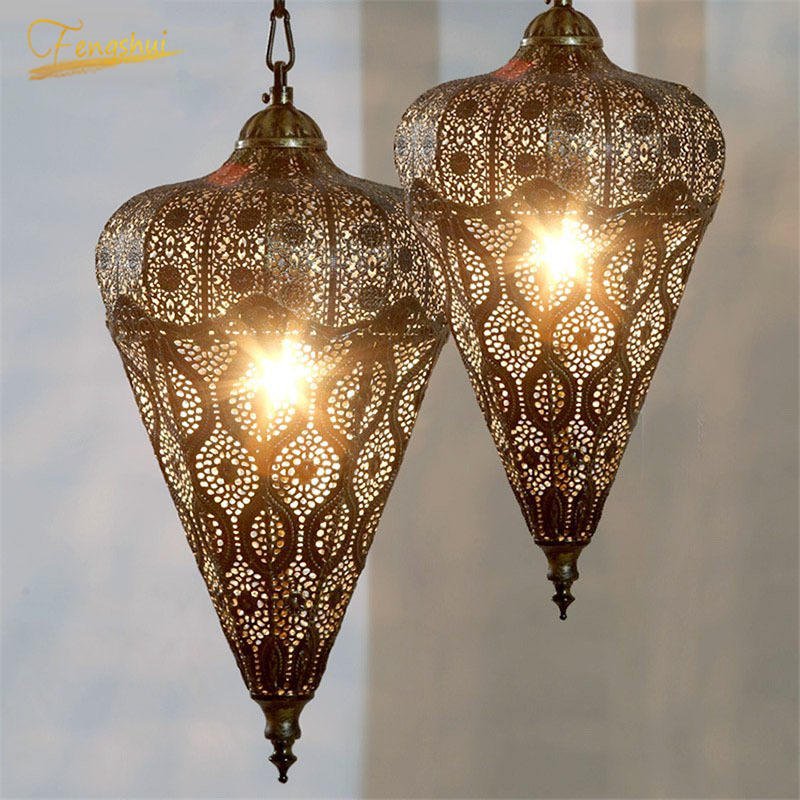 Nordic Industrial Retro Pendant Lights Hollow Iron Hanging Lamp For Living Room Restaurant Home Lighting Kitchen Decor Fixtures