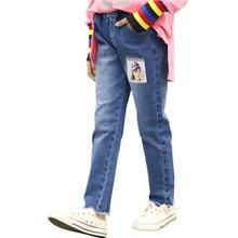 Cartoon Ripped Jeans for Kids 2019 Autumn Scrawl Denim Pants Girls Leggings Design Fall Trausers