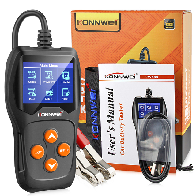 KONNWEI KW600 Car Battery Tester 12V 100 to 2000CCA 12 Volts Battery tools for the Car Quick Cranking Charging Diagnostic 5
