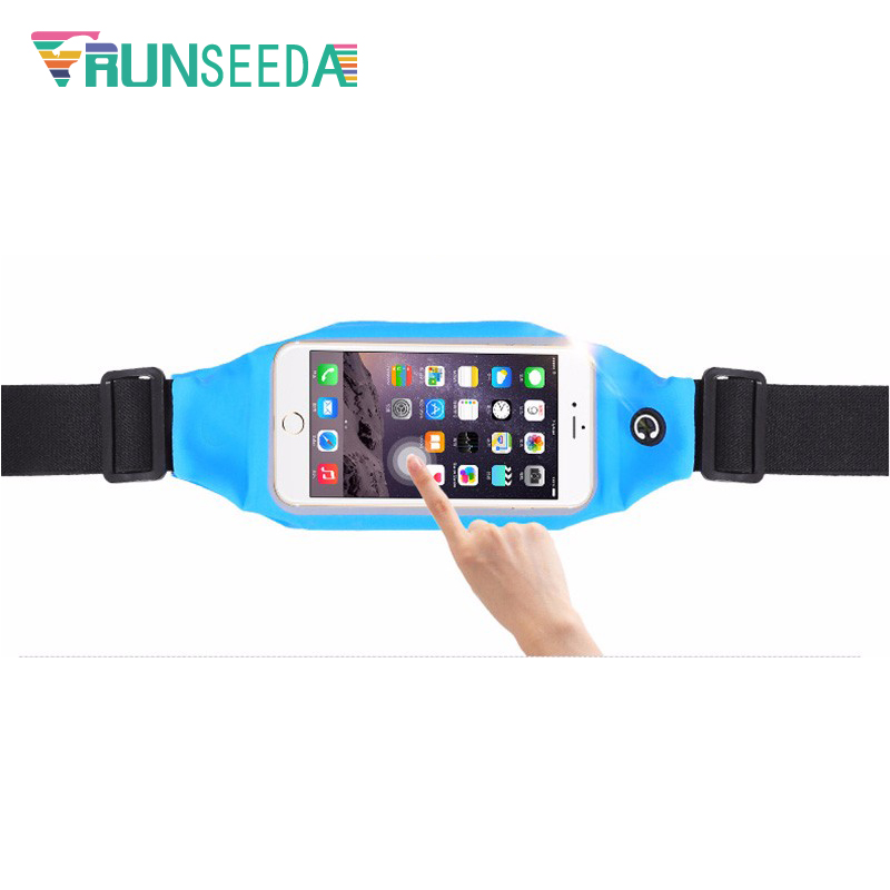 Runseeda Touchscreen Running Waist Bag Lady Women Gym Fitness Belt Bag Men Sports Waist Bag Mobile Phone Smartphone Holder Pouch