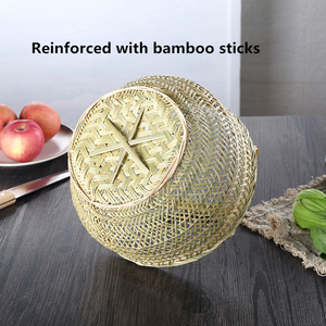 Image 4 - Round large bamboo wicker basket straw rattan handmade organizer baskets for storage bread fruit Laundry Panier Osier Picnic