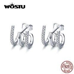 Wostu 2019 nova chegada 100% real 925 prata esterlina amor rotação do parafuso prisioneiro brincos cute square zircon para mulher cqe585