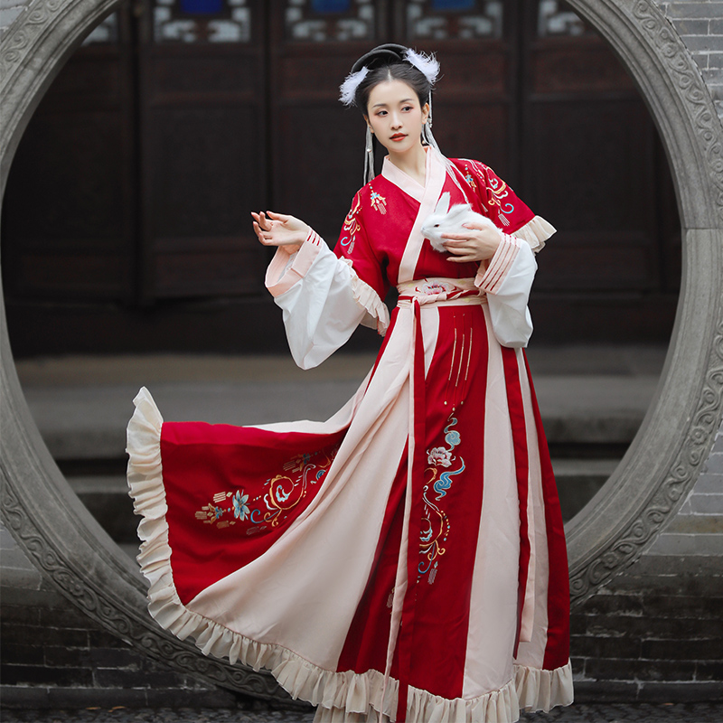 Traditional Hanfu Women Embroidery Dance Costumes Folk Fairy Dress Oriental Performance Clothing Festival Rave Outfit DC4066