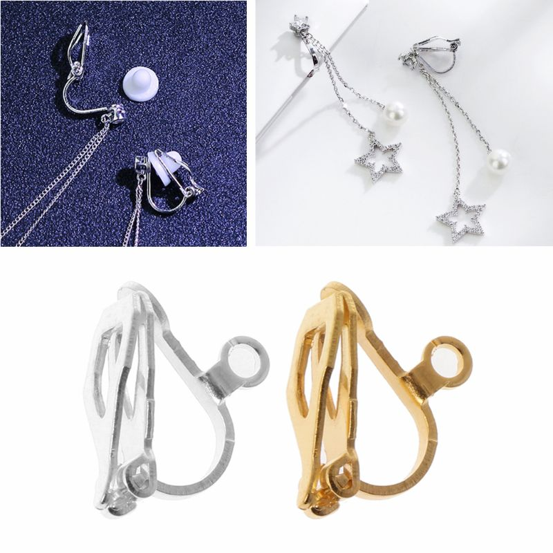 20Pcs <font><b>Clip</b></font>-<font><b>on</b></font> <font><b>Earring</b></font> Converter with Easy Open Loop DIY <font><b>Earrings</b></font> Jewelry Finding image