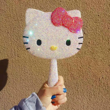 Hand-held Diamond Mirror Multi Kitty Bling Car Decor Colorful Kawaii Makeup Decor Table Decorative Mirrors Gifts for Girlfriend