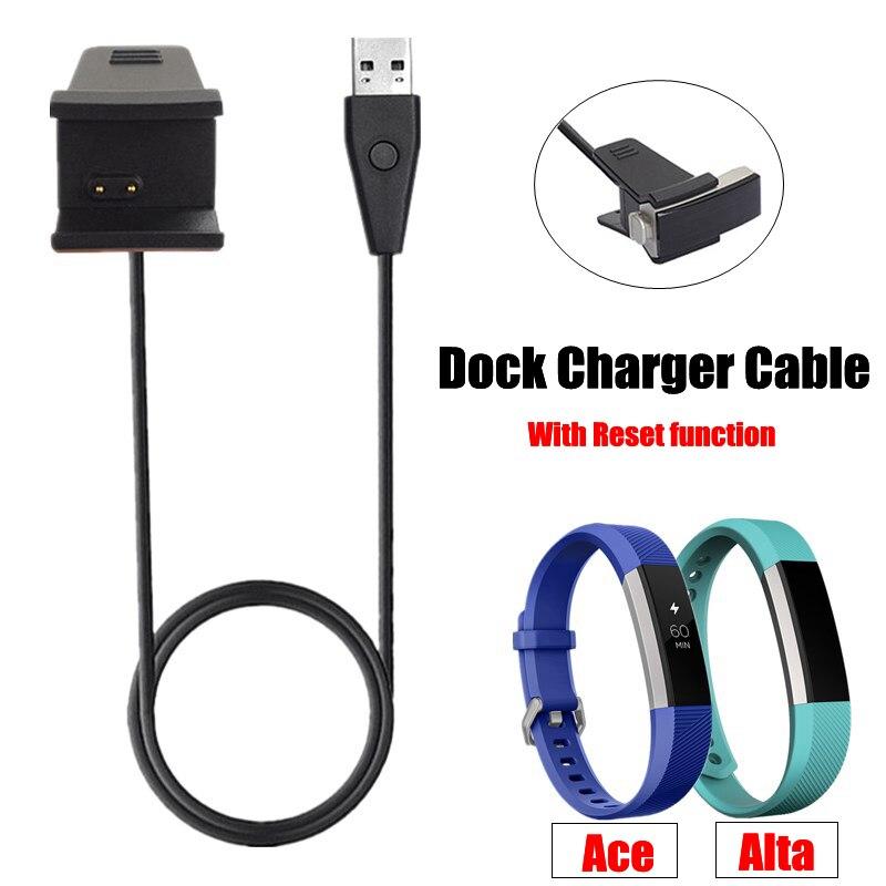 Cable cargador USB de 30/100CM de alta calidad para Fitbit ACE Cable de base de carga para reloj inteligente Fitbit alta con función de reinicio