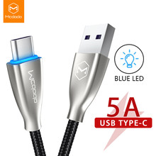 Mcdodo Usb Type C Led Licht 5A Super Snel Opladen Telefoon Data Cord Voor Huawei Mate 30 Pro P30 20 qc 4.0 Usb C Lader Usb Kabel(China)