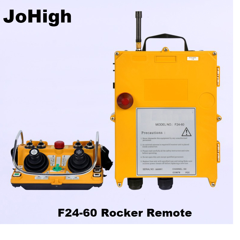 JoHigh F24-60 Joystick télécommande sans fil industrielle 1 émetteur + 1 récepteur 380 v, 220 v, 36 v, 24v