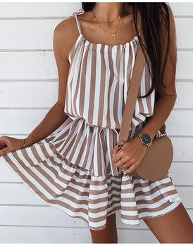 Women Casual Spaghetti Strap Off Shoulder Dress 2020 Summer A-Line Ruffle Lace Up Waist Striped Holiday Beach Mini Dresses button up shirred waist striped dress
