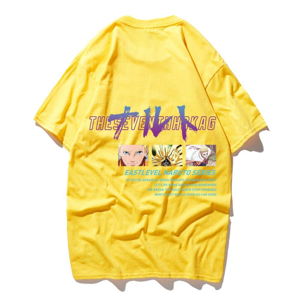 FZ01015 японский Харадзюку стиль оверсайз футболка для мужчин аниме Наруто печати короткий рукав футболки для мальчиков повседневные хлопковые топы - Цвет: Цвет: желтый
