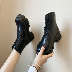 Botas Women Motorcycle Ankle Boots Wedges Female Lace Up Platforms Spring Black Leather Oxford Shoes Woman 2020 Botas Mujer