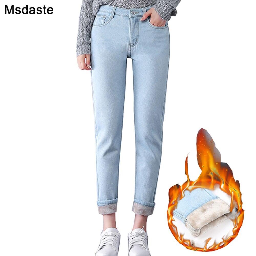 Winter Warm   Jeans   Women 2019 High Waist Cotton Casual Bodycon Vintage Velvet Ladies Trousers Female Pantalon Denim Woman Pants