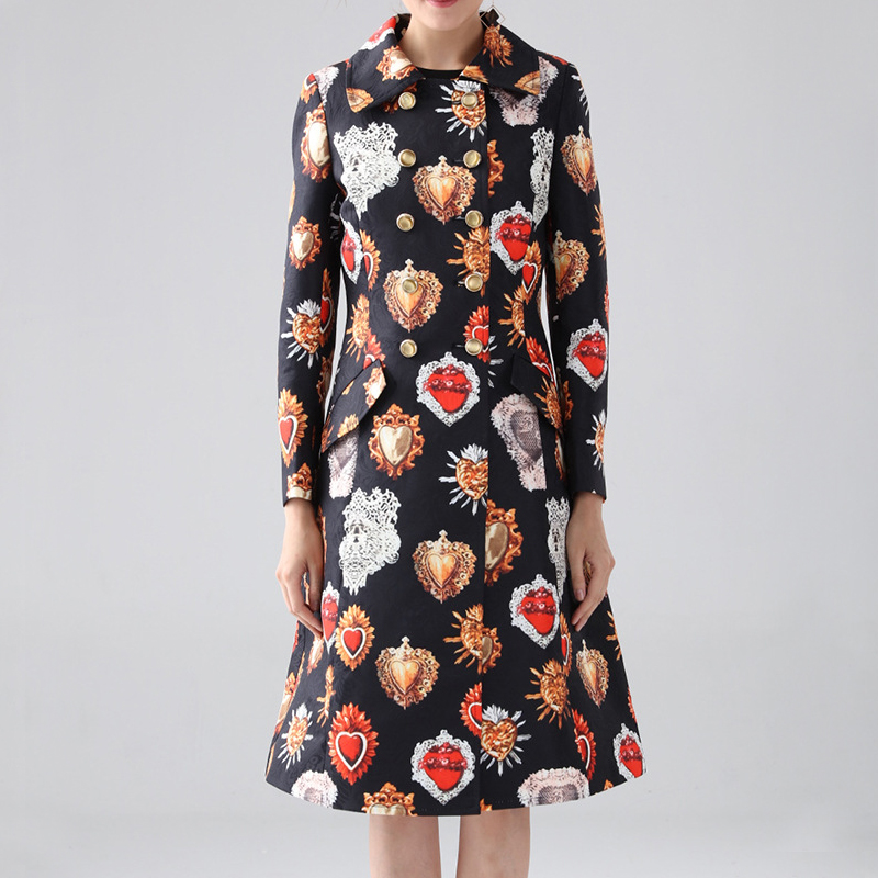 Fall 2019 New Female Celebrities Coat Elegant Fashionable Turn-down Collar Double Breasted  Hearts Printed Long Trench Coat