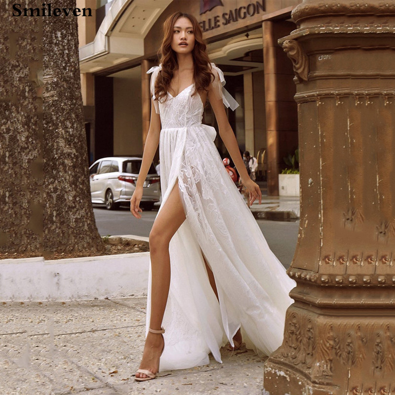 Smileven  Beach Wedding Dress 2020 Boho Appliques V Neck Vestido De Noiva  Tulle Lace Side Split Train Bridal Gowns