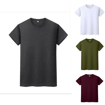 Men modern t-shirt 100% Cotton Oversized s-5xl Round Neck Solid Color  Short Sleeve Casual Wild New T-shirts for men clothing motorcycle slim t shirt men s tide long sleeved t shirt men s milk silk round neck casual men s autumn blouse