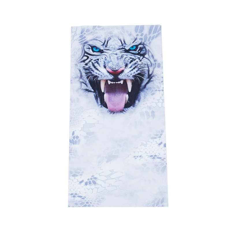 Colar de equitação ao ar livre da máscara branca do tigre toalha mágica impressão digital 3d