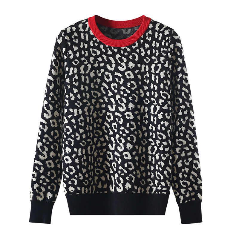 Outono inverno blusas femininas leopardo pulôveres de malha manga longa contraste cor crewneck jumpers sweter mujer C-429