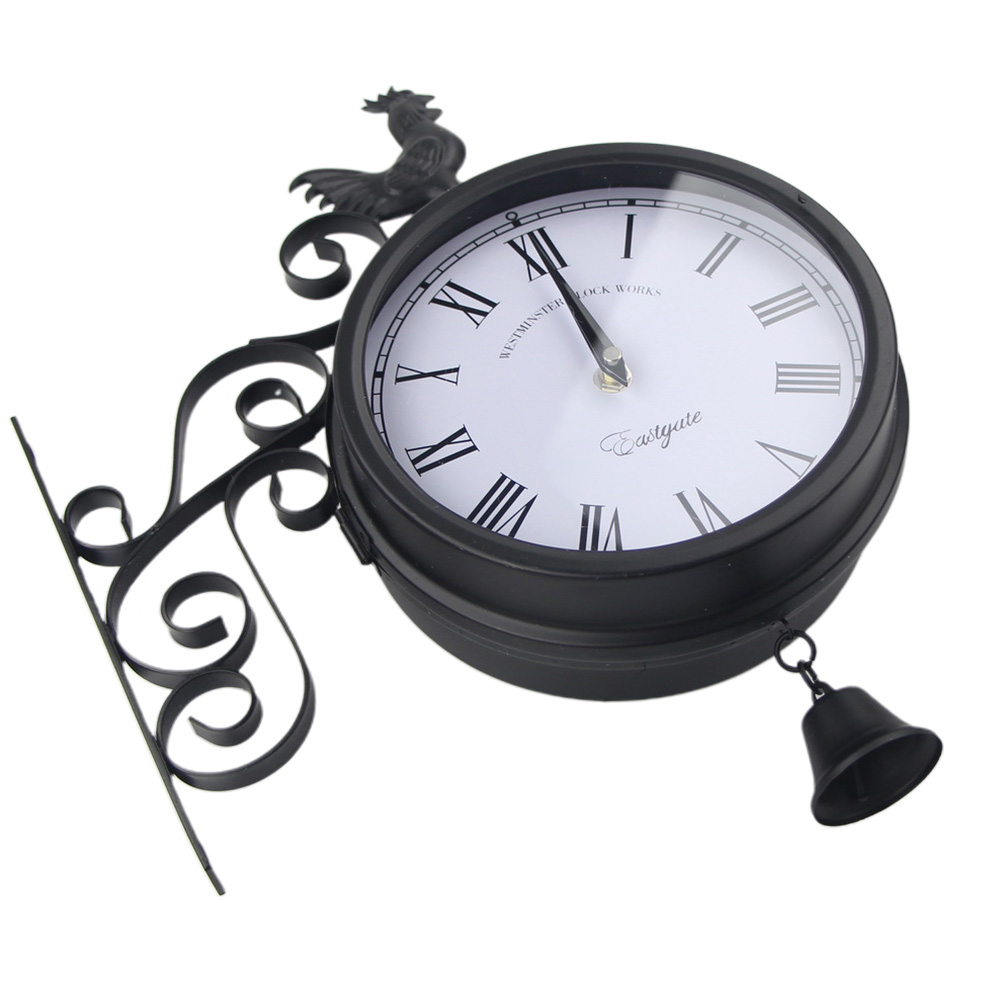 Outdoor Garden Decorative Vintage Antique Hanging Wall Clock Rooster Round Retro Time Iron Art Quartz Double Sided