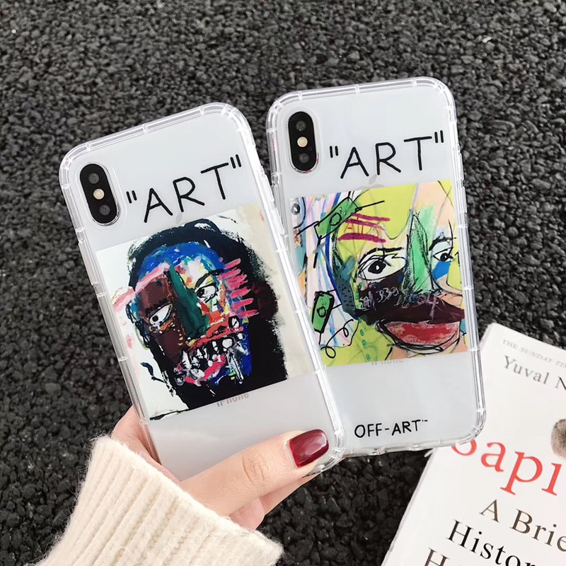 Graffiti oil painting <font><b>case</b></font> for <font><b>iphone</b></font> xs max chic <font><b>off</b></font> art design <font><b>case</b></font> for <font><b>iphone</b></font> 7 8 shockproof <font><b>white</b></font> clear <font><b>iphone</b></font> xr 7 <font><b>6</b></font> s plus image