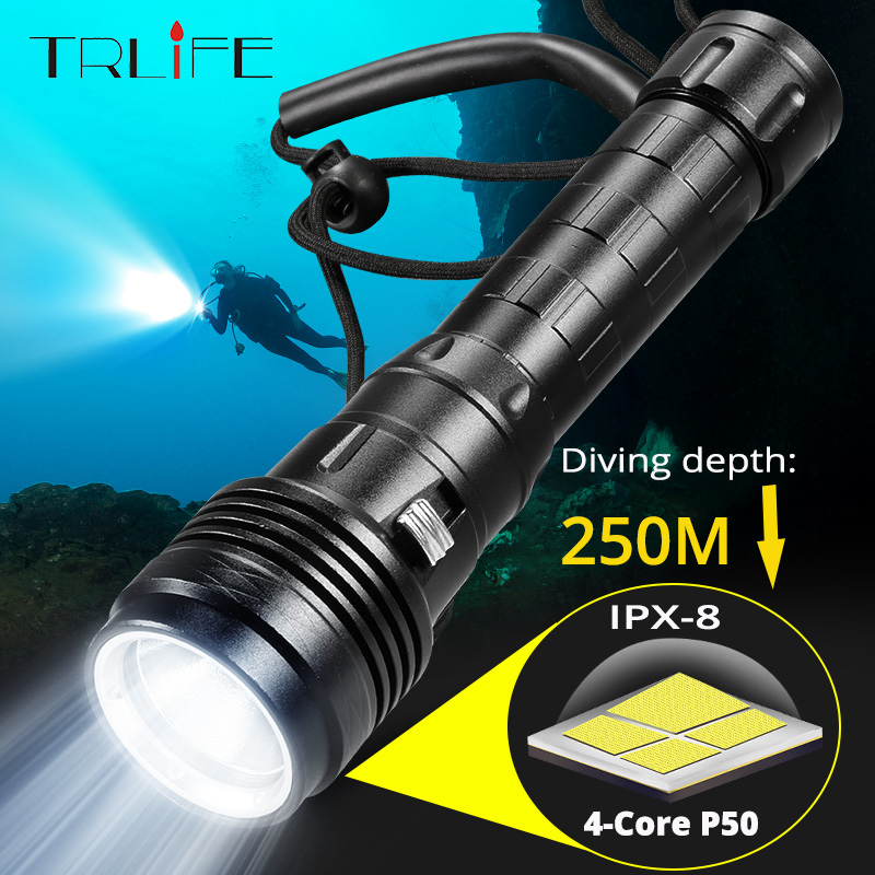 XHP50.2 Diving Flashlight Powerful With 4 Core P50 Dive Torch Grade Glare Underwater 250m IPX-8 Waterproof Lamp By 26650 Battery