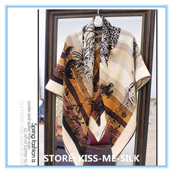 KMS Love in the jungle Leopard print velvet scarf comfortable warm thin silk cashmere shawl 135*135cm/155G