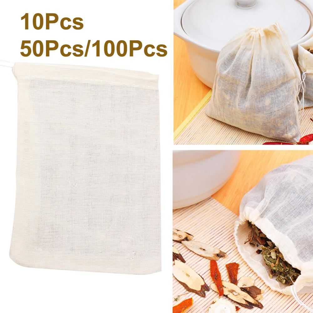 10/50/100Pcs Tea Bags 10x15cm Cotton Empty Teabag Drawstring Pouch Filter Herb Soup Bags Steeper Herbal Tea Infusers Filters New