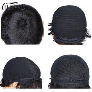 Image 4 - HANNE 100% peruki z ludzkich włosów krótkie mokre i faliste Remy peruka krótkie warstwowe fryzura pixie z Bangs czarne brazylijskie włosy brak koronkowa peruka