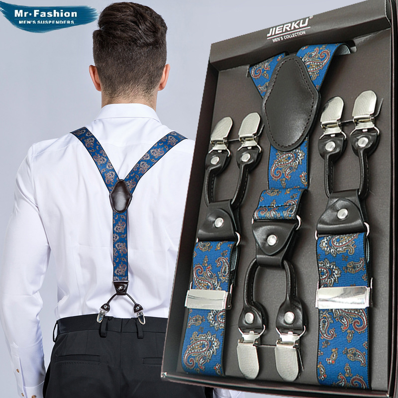 Fashion Suspenders 6 Clips Brace Floral Male Vintage Casual Wedding Party Trousers Strap Husband's Gift