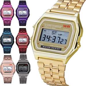Quartz-Watch Digital Gold Sport Waterproof Women Female Fashion LED Thanksgiving