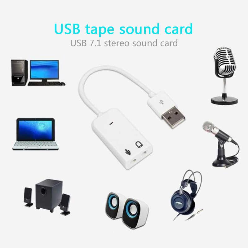 Adaptador de áudio usb 7.1 3d, placa de som usb externa para jack 3.5mm fone de ouvido microfone alto-falante para laptop notebook pc