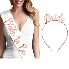 Wedding Decorations Rose Gold Bride to Be Satin Ribbon Sash Bridal Shower Bachelorette Party Girl Hen Party Decoration Supplies team bride to be satin ribbon sash hen party sash bride headband for bachelorette party bridal shower wedding decorations